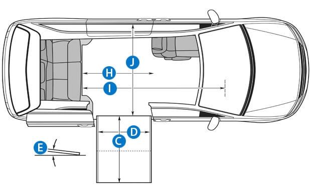 Aerial view wheelchair van schematic