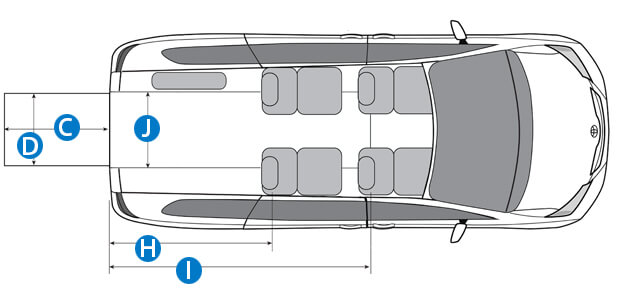Aerial view wheelchair van schematic with rear ramp