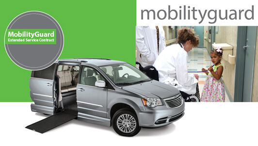 MobilityGuard logo with silver side entry wheelchair van and little girl with doctor