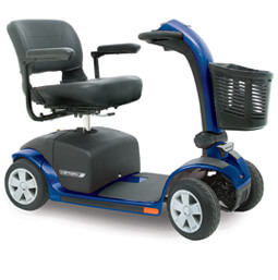 blue 4 wheel Victory 10 electric mobility scooter with basket